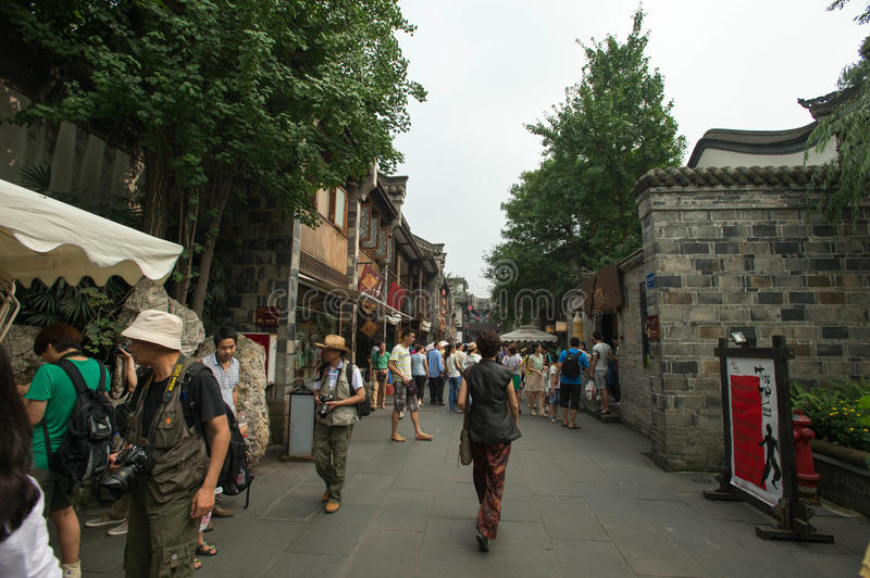 Ancient street in Jinli royalty free stock photo