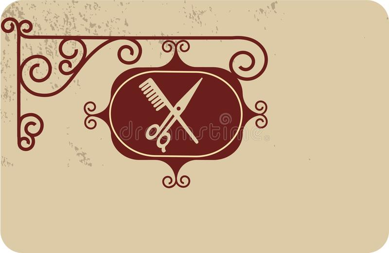 Ancient street signboard of hairdresser. Illustration stock illustration