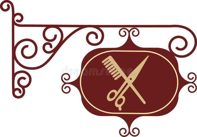Ancient street signboard of hairdresser. On white vector illustration