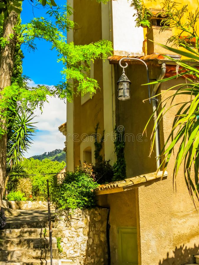 Ancient streets of the Eze village. Provence, France royalty free stock image