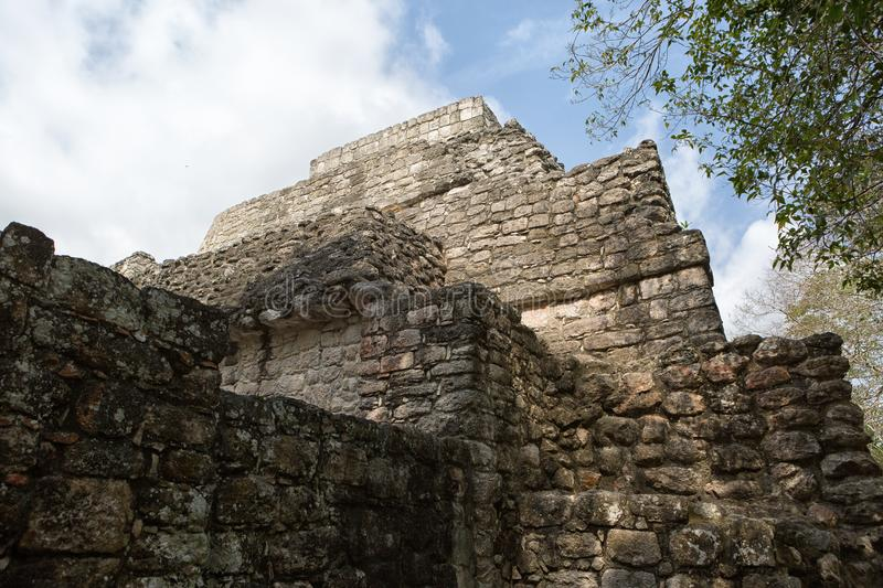 Ancient stucture at Calakmul archeological site in Mexico stock photo