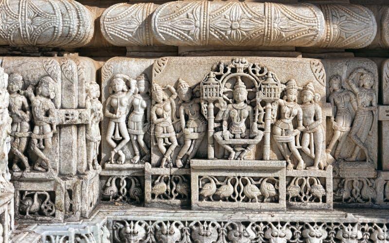 Ancient Sun Temple in Ranakpur. Jain Temple Carving. stock photo
