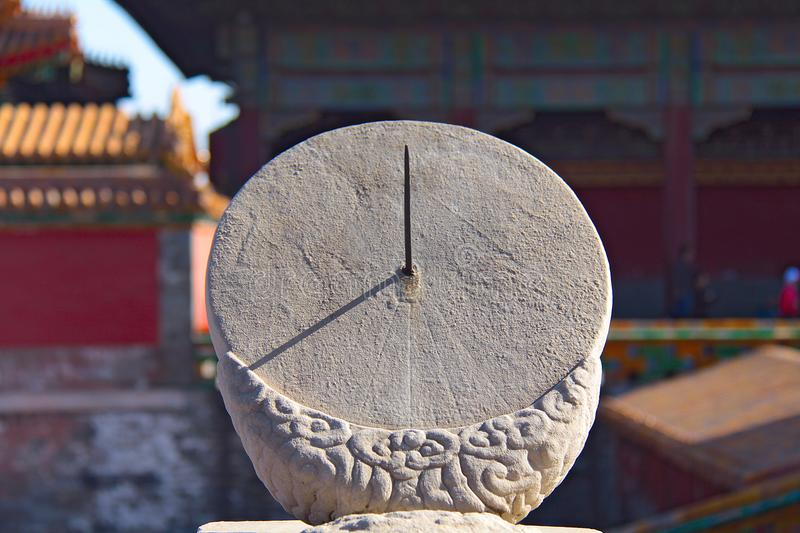 Ancient sundial in the Forbidden City - Beijing, China.  stock photos