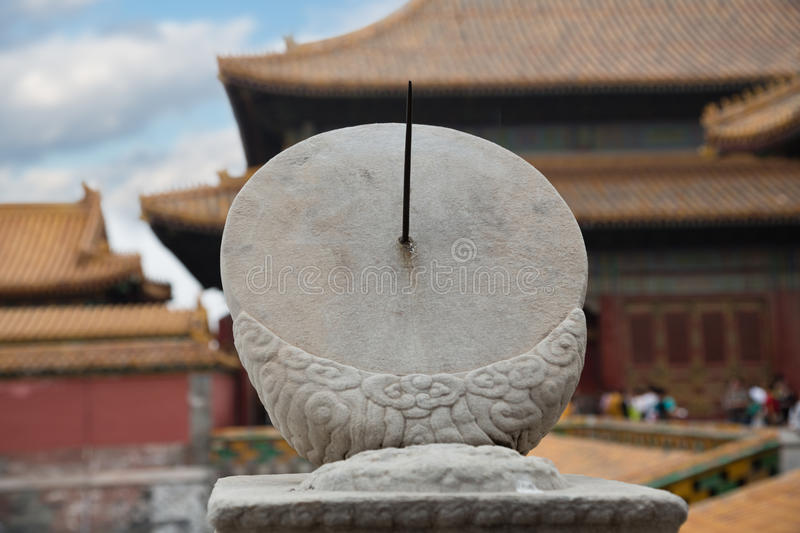 Ancient sundial in the Imperial Forbidden City, Beijing stock image