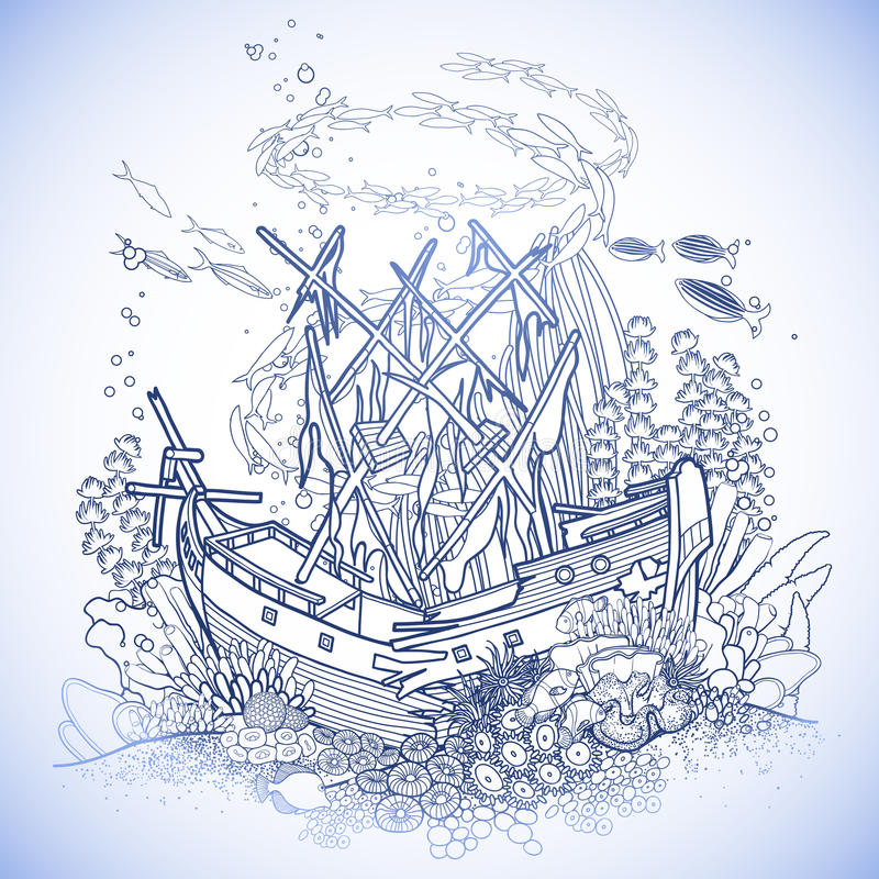 Bottom Of The Ocean Reef Sunken Ship Coloring Pages