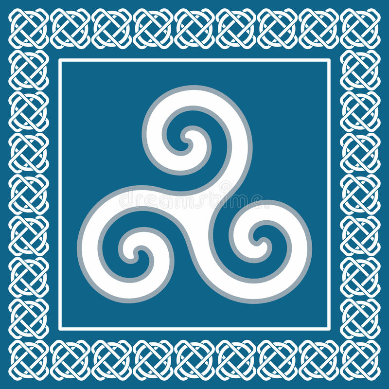 Ancient symbol triskelion or triskele, traditional celtic element royalty free illustration