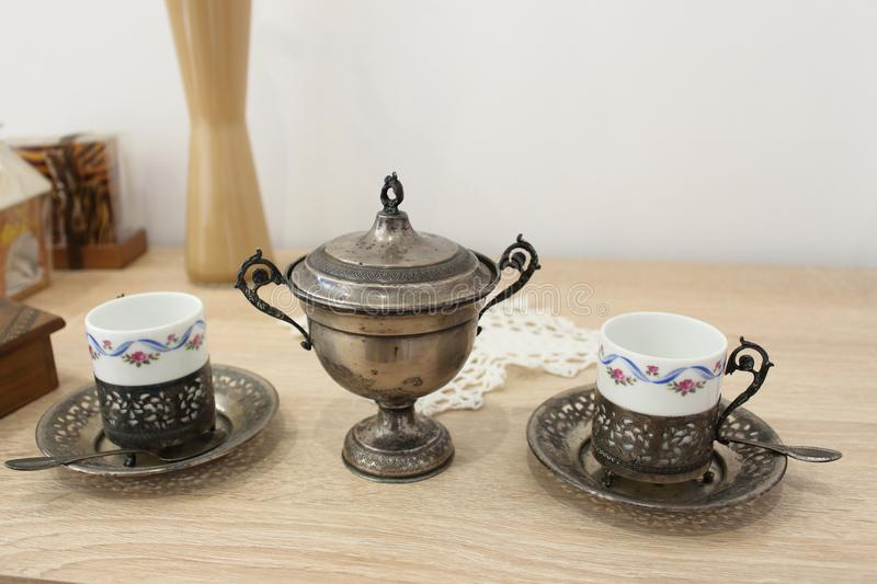 Ancient tea set. Immerse yourself in the old days stock photo