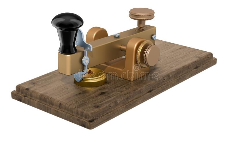 Ancient telegraph device, 3D rendering. Isolated on white background stock illustration