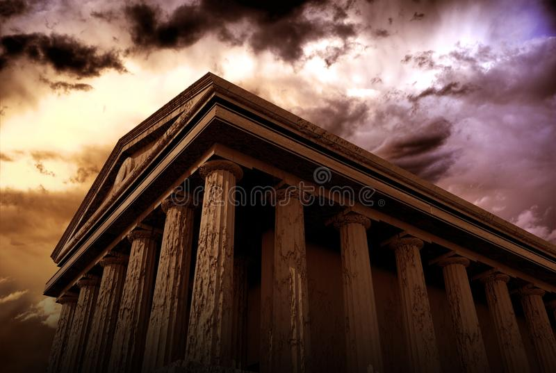 Ancient Temple. Ancient Architecture 3D Rendered Abstract Illustration. Hundred Columns Temple. Architecture Illustrations Collection vector illustration