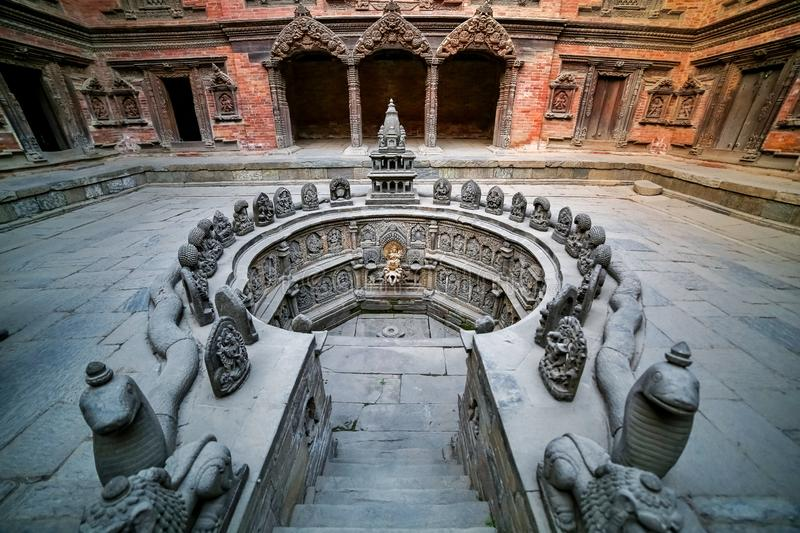 Ancient temple in the ancient city of Patan, Nepal. Patan Durbar Square premises. Ancient temple in the ancient city of Patan, Nepal. Patan Durbar Square royalty free stock images