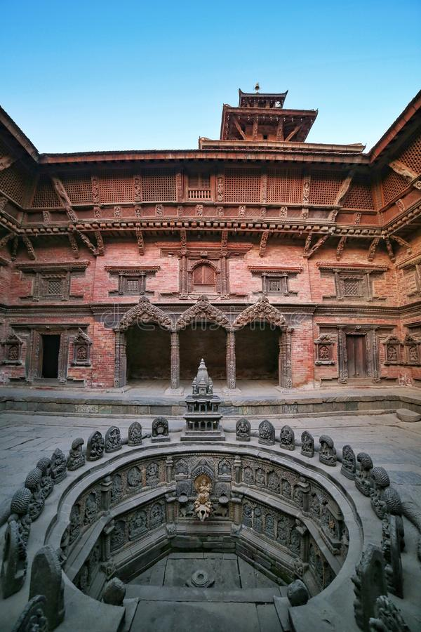 Ancient temple in the ancient city of Patan, Nepal. Patan Durbar Square premises. Ancient temple in the ancient city of Patan, Nepal. Patan Durbar Square stock photo