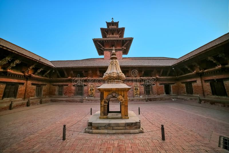 Ancient temple in the ancient city of Patan, Nepal. Patan Durbar Square premises. Ancient temple in the ancient city of Patan, Nepal. Patan Durbar Square royalty free stock image
