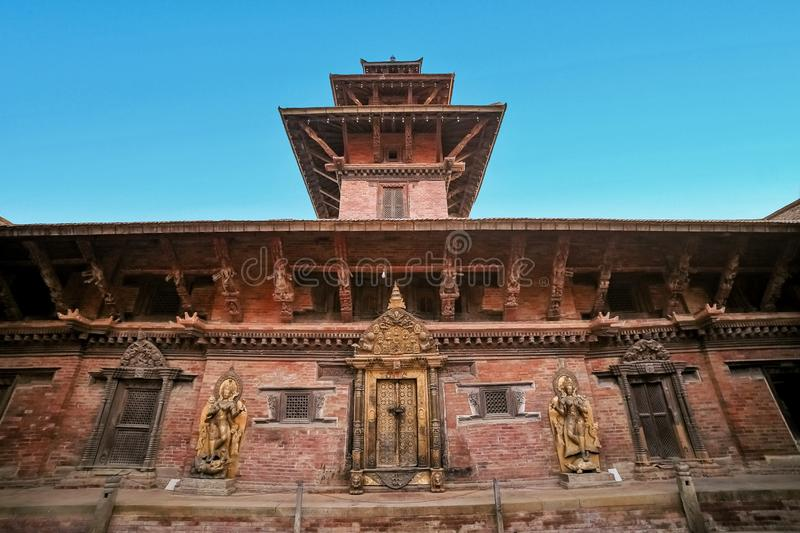 Ancient temple in the ancient city of Patan, Nepal. Patan Durbar Square premises. Ancient temple in the ancient city of Patan, Nepal. Patan Durbar Square stock photography
