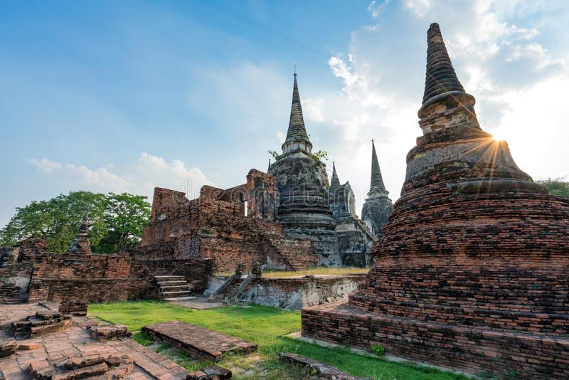 Ancient temple in Ayutthaya, Thailand. The temple is on the site of the old Royal Palace of ancient capital of Ayutthaya.  royalty free stock photography
