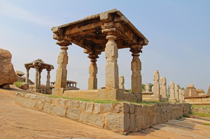 An ancient temple complex Hemakuta hill in Hampi, Karnataka, India. Unesco World Heritage Site. The famous tourist destination from GOA stock photography