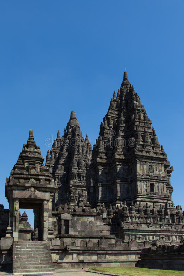 The ancient temple complex of Prambanan stock image