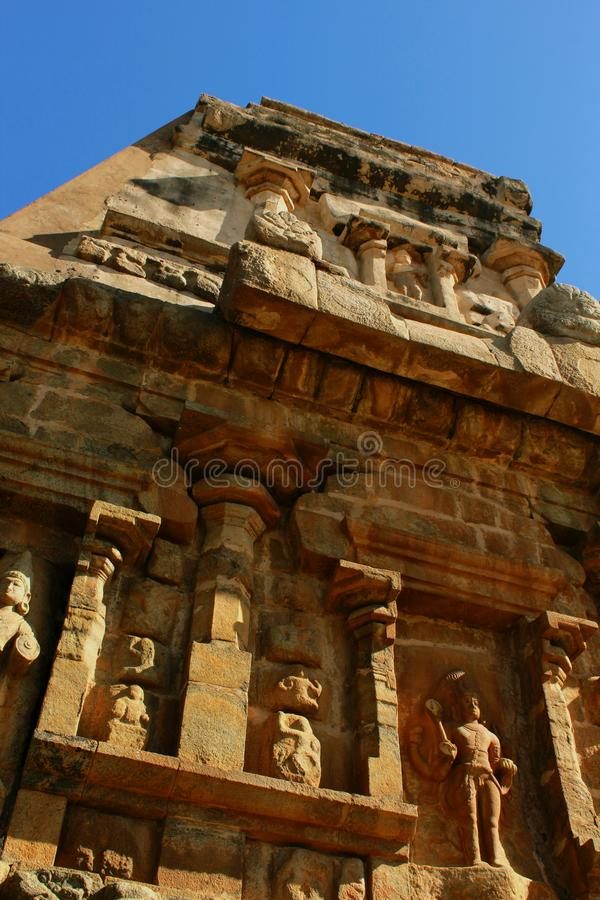 Very nice sculpture on the stone wall in the ancient Brihadisvara Temple in the gangaikonda cholapuram, india. Ancient temple Gangaikonda Cholapuram-UNESCO royalty free stock photo