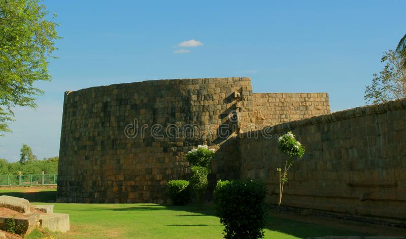 Big battlement of the ancient Brihadisvara Temple in Gangaikonda Cholapuram, india. Ancient temple Gangaikonda Cholapuram-UNESCO World Heritage centre known as royalty free stock image