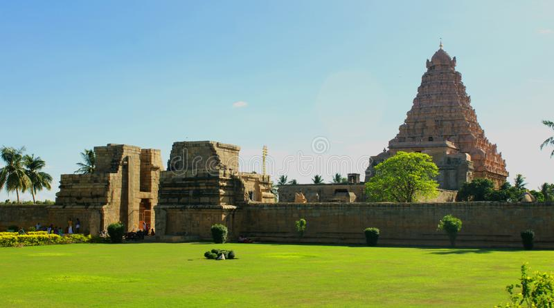 Entrance way with meadow at sunset view of the ancient Brihadisvara Temple in Gangaikonda Cholapuram, india. Ancient temple Gangaikonda Cholapuram-UNESCO World stock photography