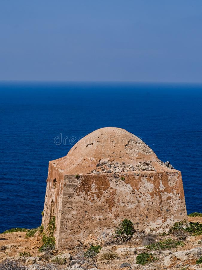 Ancient temple ruins found on an island of Crete, Greece royalty free stock image