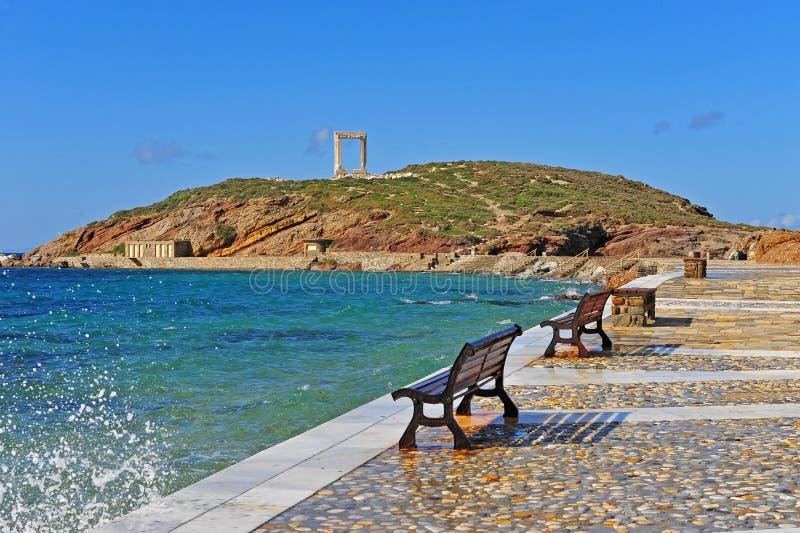 Ancient temple ruins, symbol of Naxos island. Greece stock image