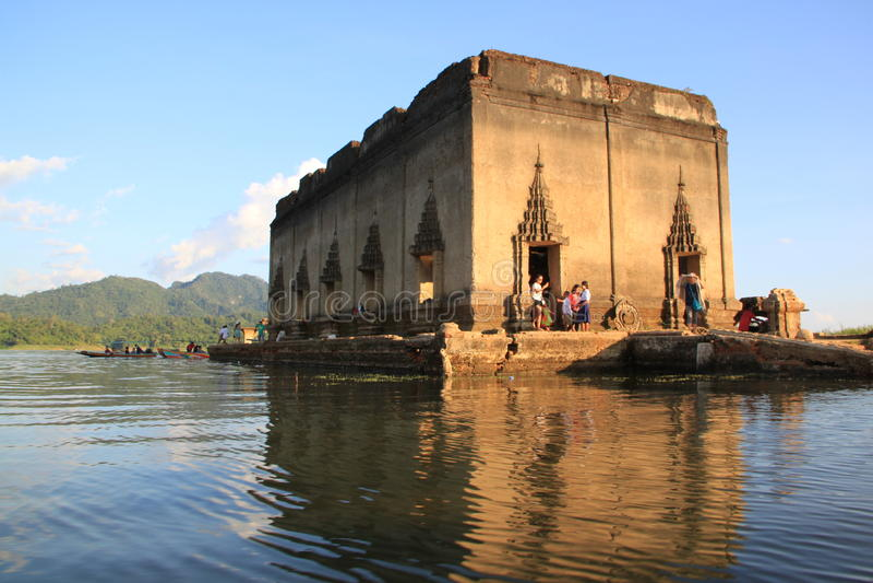 Ancient temple in Sangkhlaburi stock photos