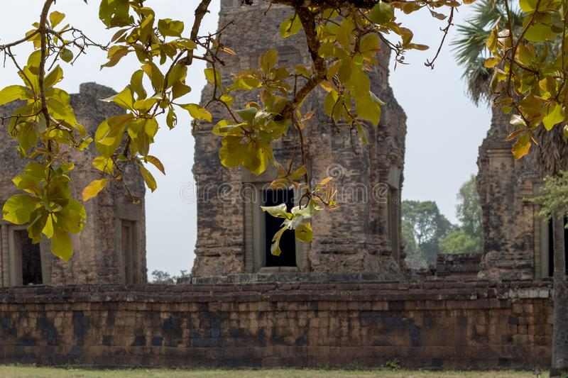 Ancient temple view near Angkor Wat, Siem Reap, Cambodia. Pre Rup temple view with tree leaf. Popular tourism destination place. Travel sightseeing in Angkor stock photos