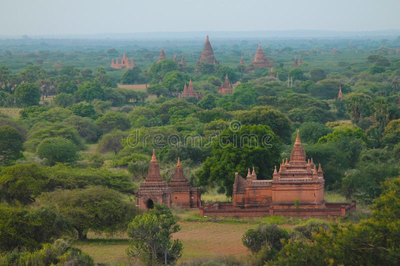 Ancient temples of Bagan at dawn, Myanmar Burma stock image