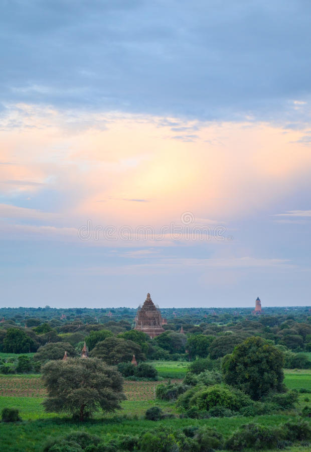 Ancient temples in Bagan, Myanmar. Bagan is an ancient city with thousands of historic buddhist temples and stupas royalty free stock image