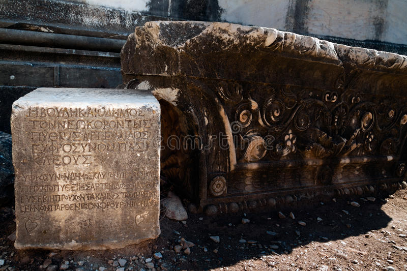 Ancient text inscription royalty free stock images