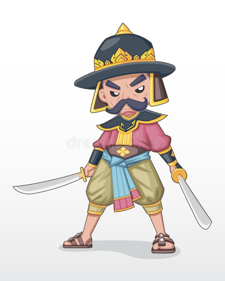 Ancient Thai warlord standing with dual sword illustration vector illustration
