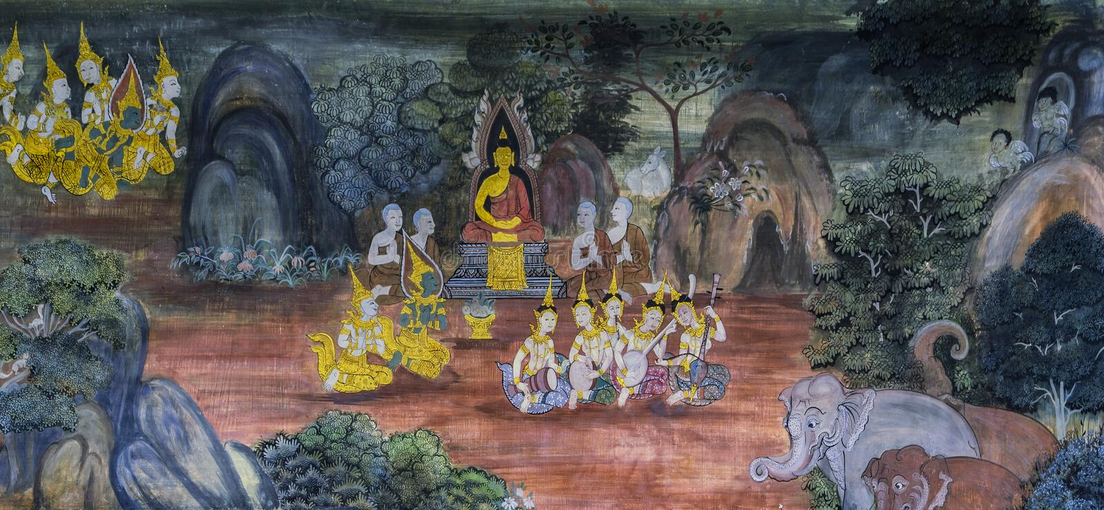 Ancient Thai Buddisht mural painting on temple wall royalty free stock image