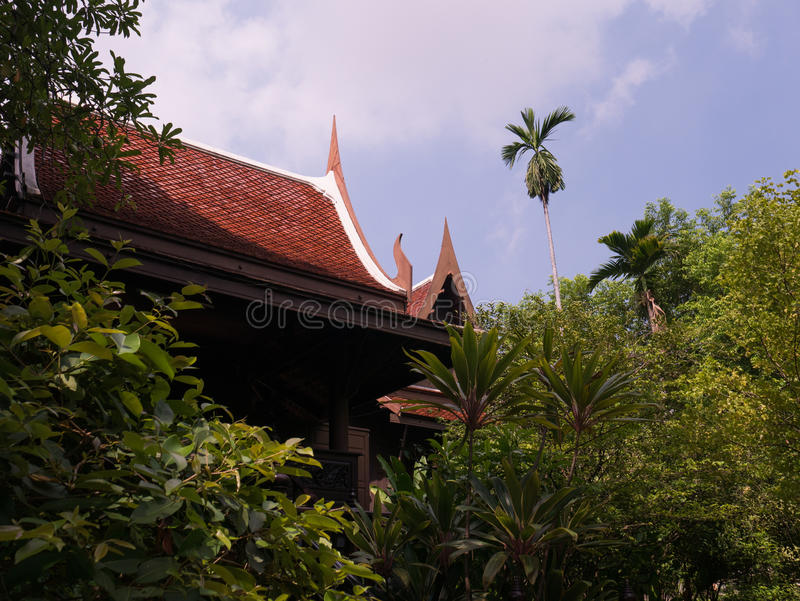 Ancient thai houses thai architecture and tree stock image