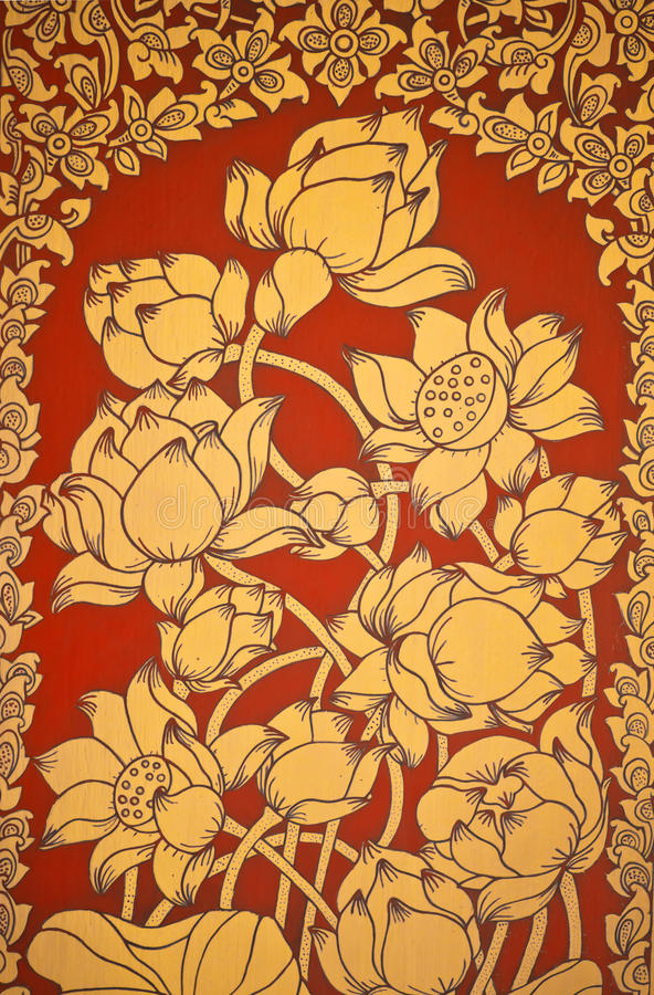 Free Ancient Thai Mural Flower Painting Of Flowers 2 Stock Images - 23680054