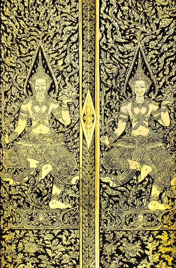 Download Ancient Thai Pattern On Door Stock Image - Image of golden, ornamental: 25165687
