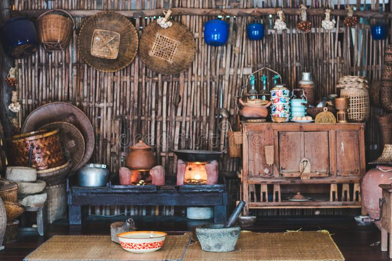 Ancient thai traditional kitchen in the old hut. With vintage style royalty free stock photos