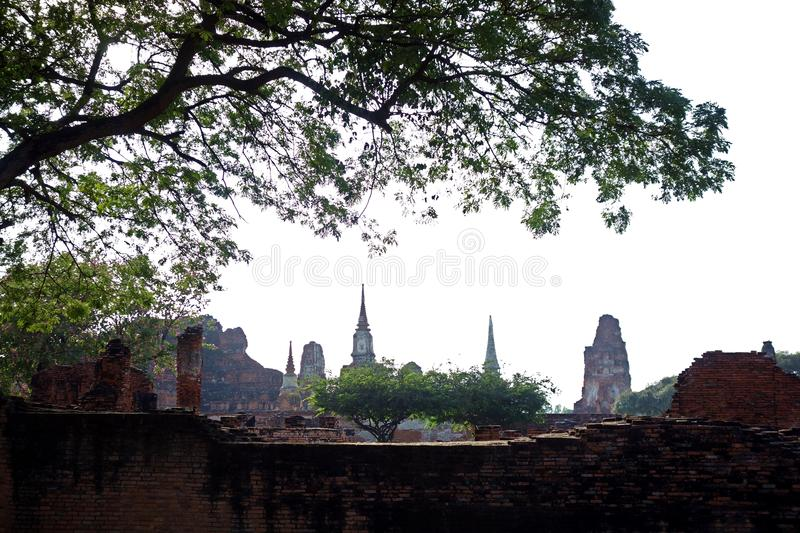 Ancient Thai Wat Temple Ruins of Ayutthaya royalty free stock photos