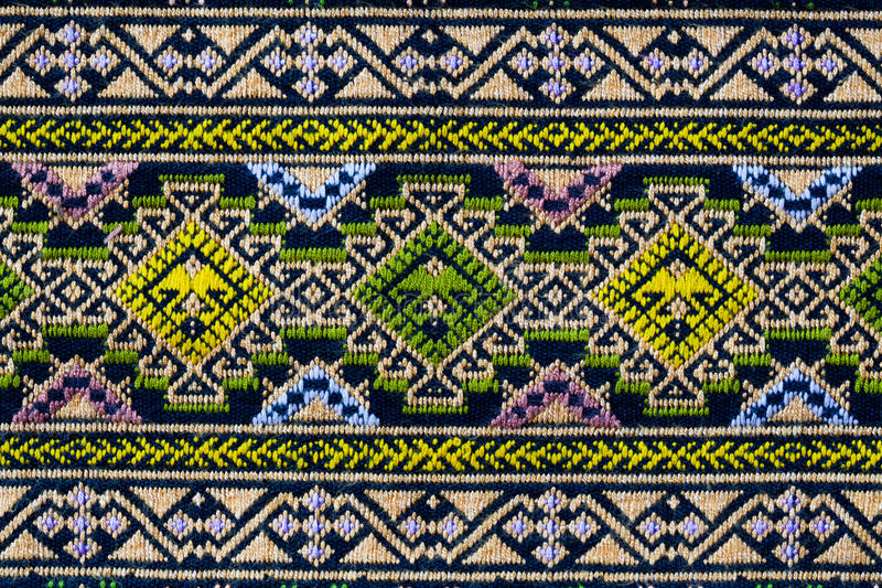 Ancient thai woven cloth, pattern 1, closeup stock photography