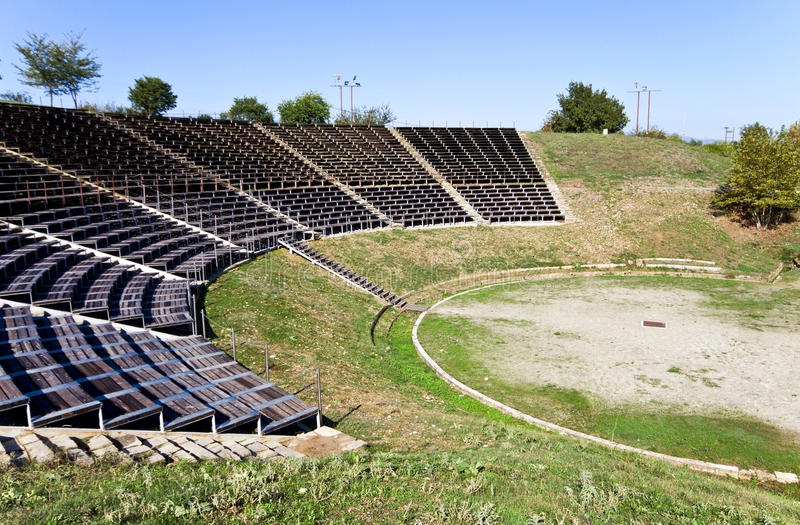 Ancient Theater Of Dion At Greece Stock Photo