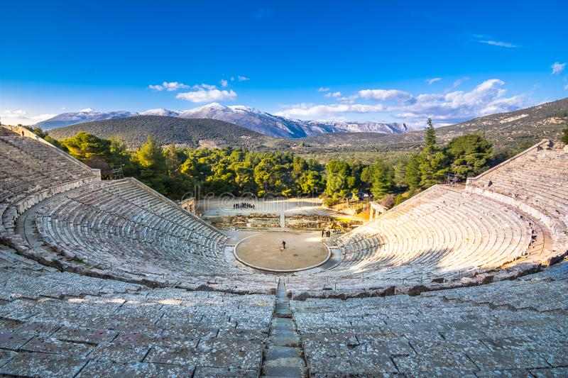 The ancient theater of Epidaurus or `Epidavros`, Argolida prefecture, Peloponnese. royalty free stock images