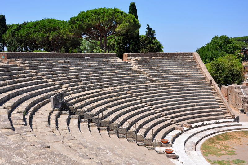Ancient theater in Ostia Antica. Rome, Italy stock image