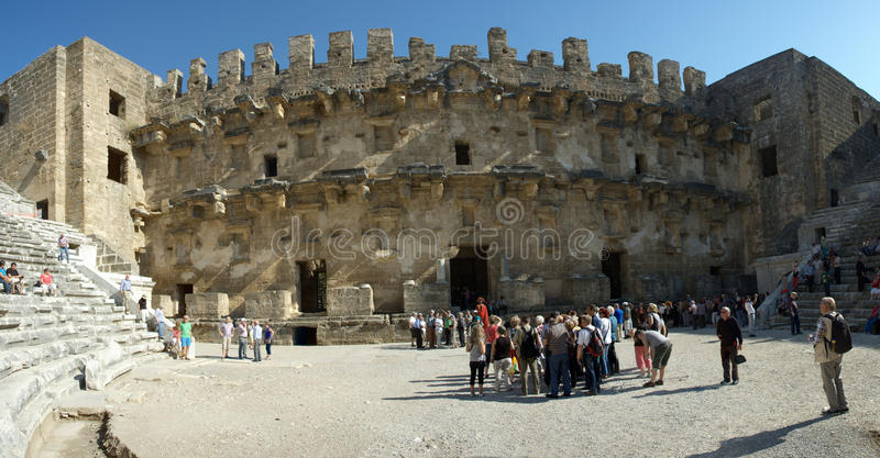 Ancient theatre of Aspendos. Aspendos or Aspendus was an ancient Greco-Roman city in Antalya province of Turkey. It is located 7 kilometres northeast of central royalty free stock photo
