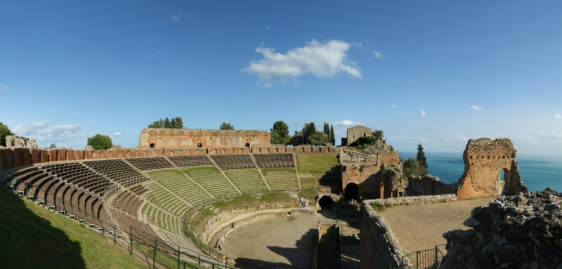 Ancient Theatre Of Taormina, Italy Stock Photos