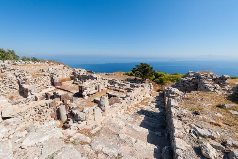 Ancient Thera historic site on Santorini Greece stock photography