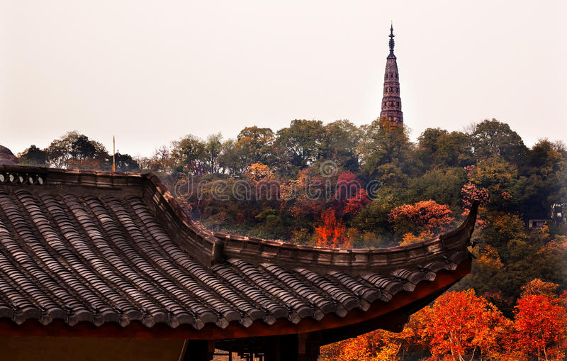 Ancient Tiled Roof Baochu Pagoda West Lake Hangzhou Zhejiang Chi. Na . Pagoda was constructed in 963AD royalty free stock photo