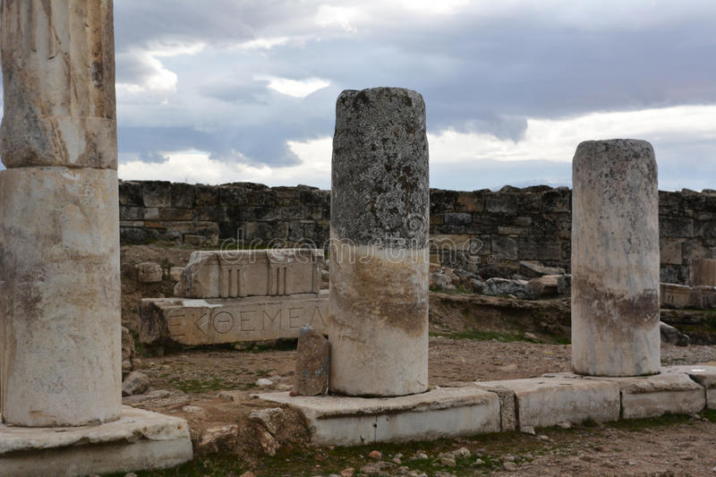 In ancient times historical monuments. Roman empire and Hierapolis. stock photography