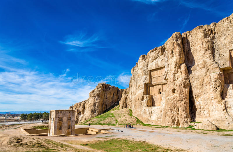 Ancient tombs of Achaemenid kings at Naqsh-e Rustam in Iran. Ancient tombs of Achaemenid kings at Naqsh-e Rustam in northern Shiraz, Iran royalty free stock photography