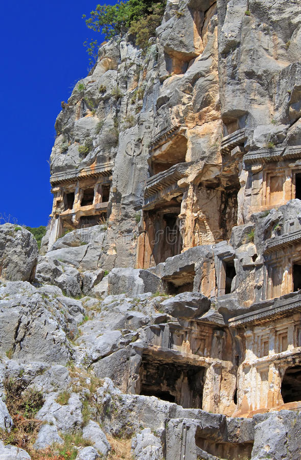 Ancient tombs in Myra, Turkey royalty free stock photography