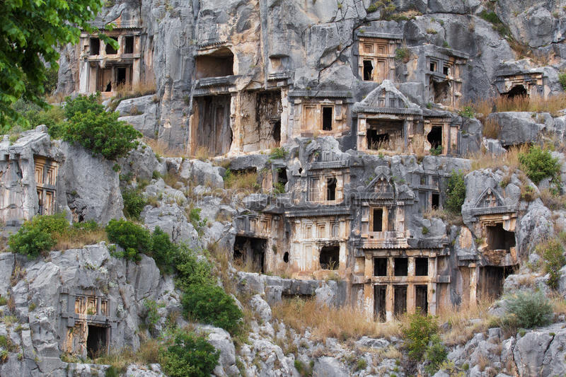 Ancient tombs in Myra, Turkey stock image