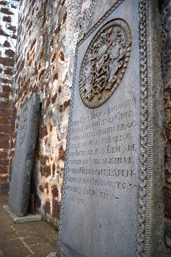 Ancient Tombstones at Church Ruins royalty free stock photography